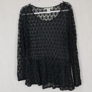 AMERICAN RAG black lace sheer blouse 2x